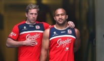 SYDNEY, AUSTRALIA - SEPTEMBER 18:  Mitchell Aubusson and Sam Moa arrive at a Sydney Roosters NRL training session at Moore Park on September 18, 2014 in Sydney, Australia.  (Photo by Renee McKay/Getty Images)