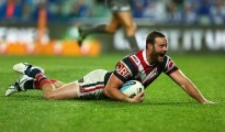 SYDNEY, AUSTRALIA - SEPTEMBER 18:  Boyd Cordner of the Roosters scores a try during the First NRL Semi Final match between the Sydney Roosters and the Canterbury Bulldogs at Allianz Stadium on September 18, 2015 in Sydney, Australia.  (Photo by Cameron Spencer/Getty Images)