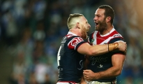 SYDNEY, AUSTRALIA - SEPTEMBER 18:  Boyd Cordner of the Roosters celebrates scoring a try with team mate Jackson Hastings of the Roosters during the First NRL Semi Final match between the Sydney Roosters and the Canterbury Bulldogs at Allianz Stadium on September 18, 2015 in Sydney, Australia.  (Photo by Cameron Spencer/Getty Images)