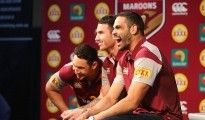 BRISBANE, AUSTRALIA - MAY 19:  (L-R) Billy Slater, Darrius Boyd and Greg Inglis share a joke during the Queensland Maroons State of Origin Team Announcement at the Brisbane Showgrounds on May 19, 2015 in Brisbane, Australia.  (Photo by Chris Hyde/Getty Images)