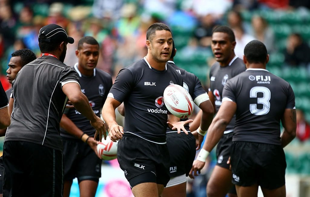 LONDON, ENGLAND - MAY 21: Jarryd Hayne of Fiji warms up prior to their match against England during the HSBC London Sevens at Twickenham Stadium on May 21, 2016 in London, United Kingdom. (Photo by Charlie Crowhurst/Getty Images)